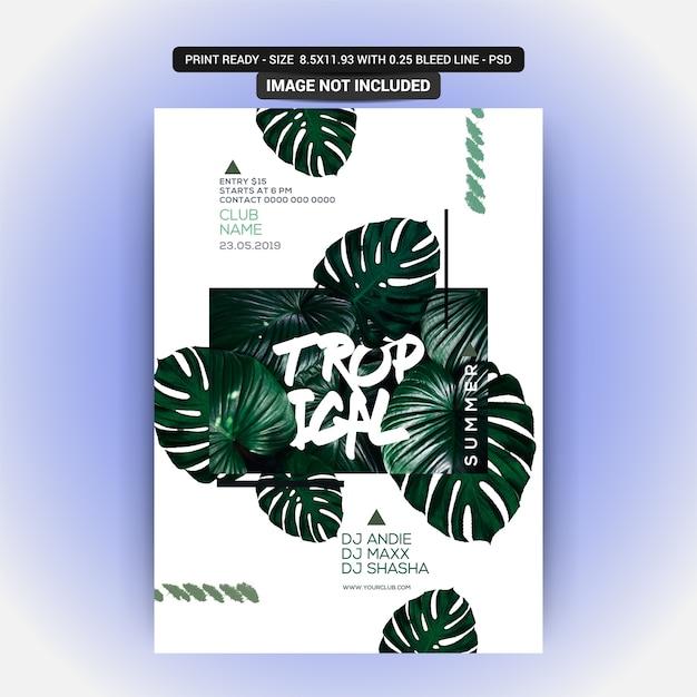 Panfleto de festa de noite de verão com planta tropical Psd Premium