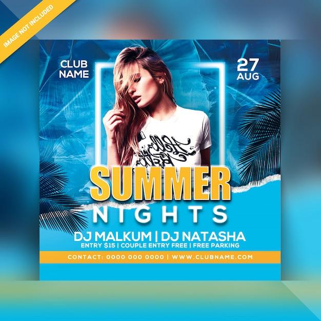 Panfleto de festa de noites de verão Psd Premium