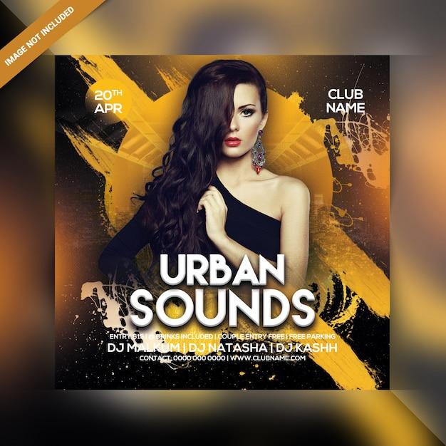 Panfleto de festa de sons urbanos Psd Premium