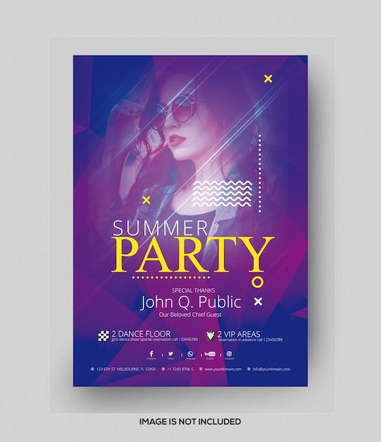 Panfleto de festa de verão Psd Premium