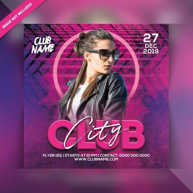 Panfleto de festa do clube da cidade Psd Premium