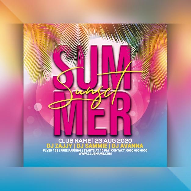 Panfleto de festa do sol de verão Psd Premium