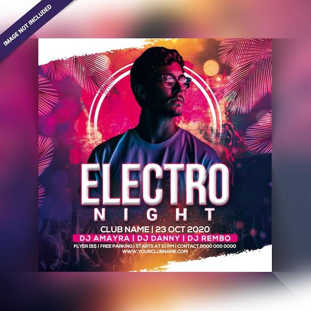 Panfleto de festa electro noite Psd Premium
