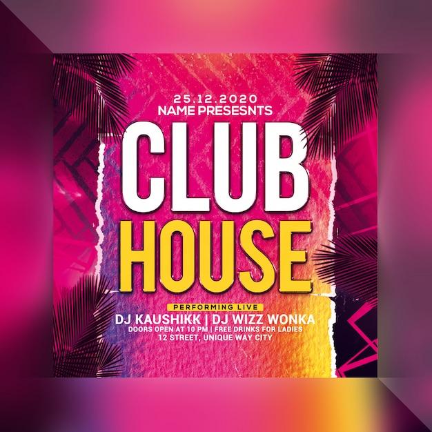 Panfleto de festa em casa de clube Psd Premium