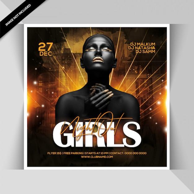 Panfleto de festa nightout meninas Psd Premium