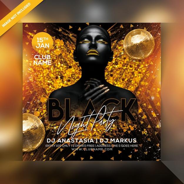 Panfleto de festa noite negra Psd Premium