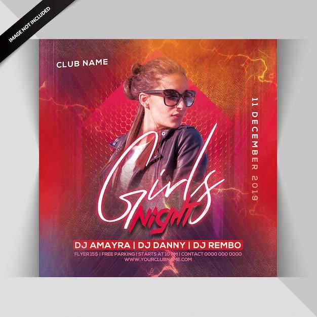 Panfleto de festa noturna para meninas Psd Premium