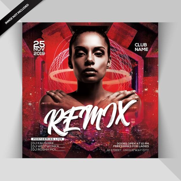 Panfleto de festa remix noite Psd Premium