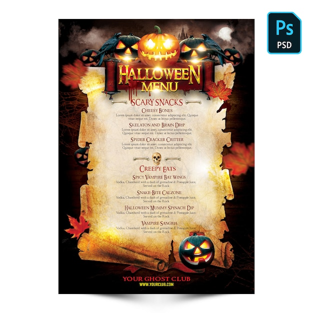 Panfleto de menu de halloween Psd Premium