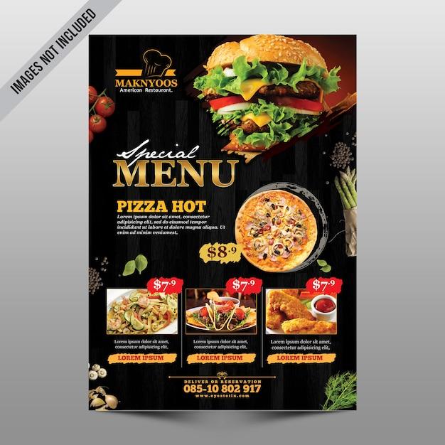 Panfleto de menu de restaurante Psd Premium