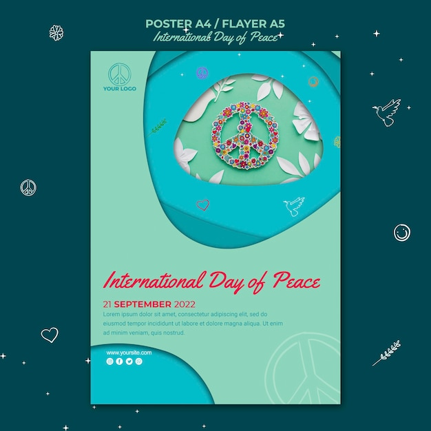 Panfleto do dia internacional da paz Psd grátis