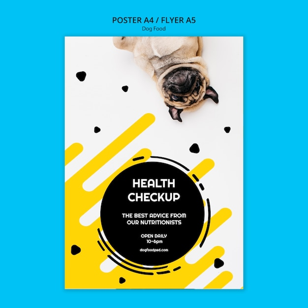 Panfleto quadrado colorido de comida de cachorro Psd grátis