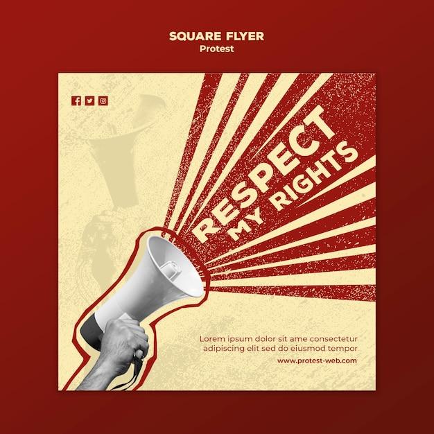 Panfleto quadrado com protestos pelos direitos humanos Psd grátis