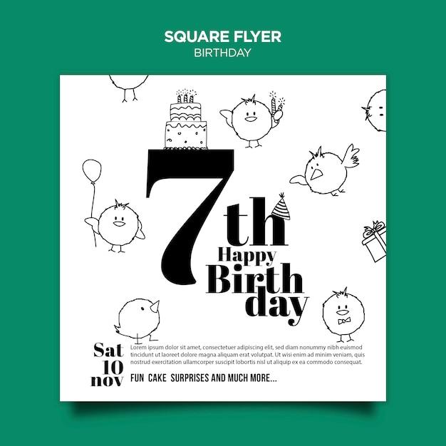 Panfleto quadrado de convite de aniversário Psd Premium