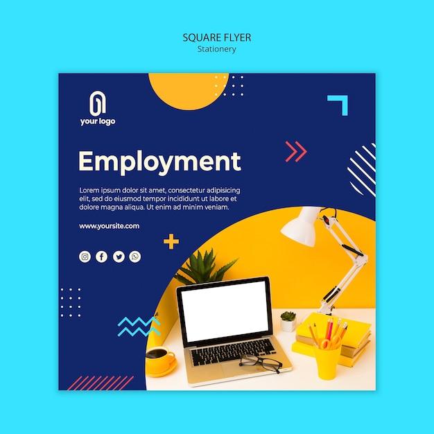 Panfleto quadrado de emprego e memphis design Psd grátis
