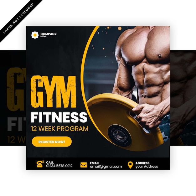 Panfleto quadrado de ginásio Psd Premium