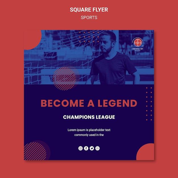 Panfleto quadrado de jogador de futebol com foto Psd grátis