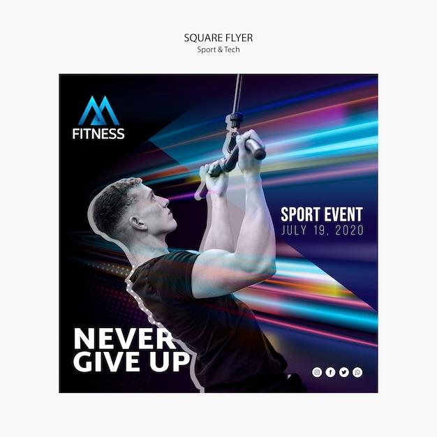 Panfleto quadrado esporte e tecnologia fitness Psd grátis