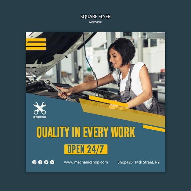Panfleto quadrado para profissão mecânica Psd grátis