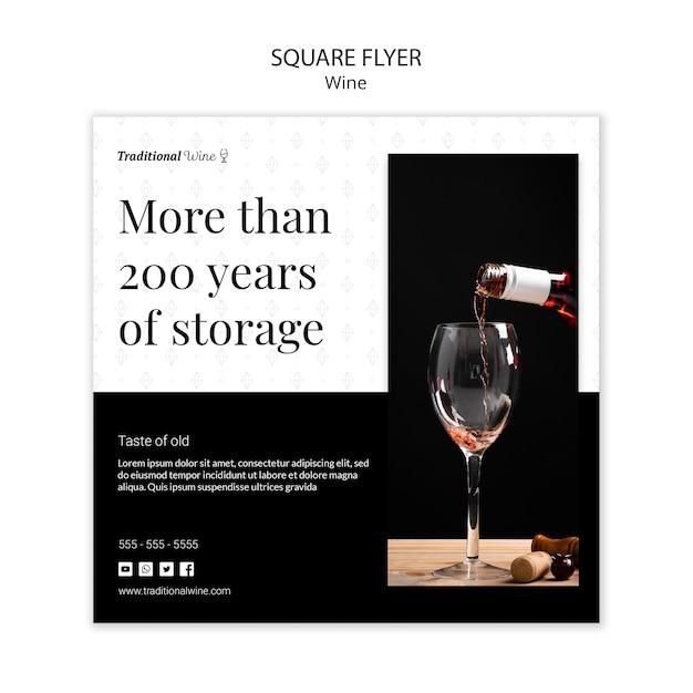 Panfleto quadrado vinho tradicional Psd grátis