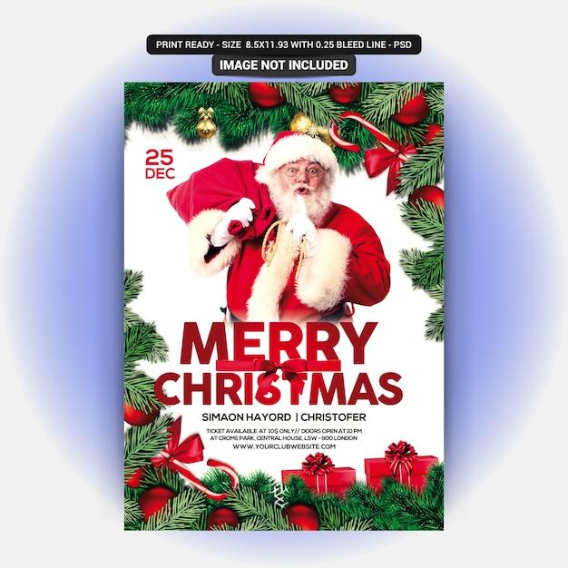 Panfleto vermelho para celebração de natal Psd Premium