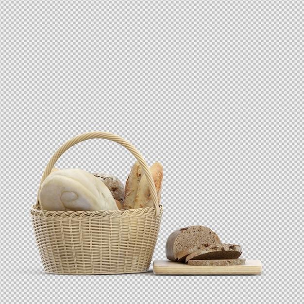 Pão isométrico 3d isolado Psd Premium