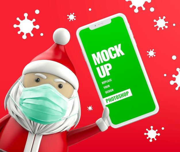 Papai noel segurando um celular com máscara protetora anti-vírus Psd Premium