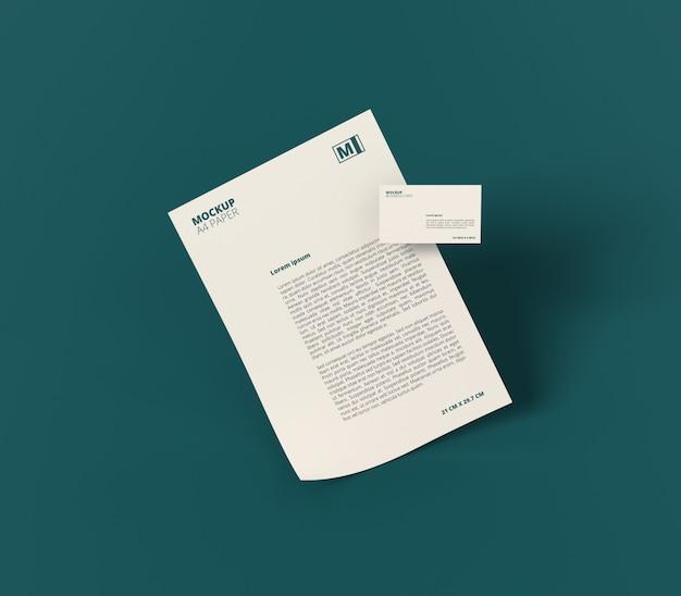Papel a4 com maquete de cartão de visita Psd Premium