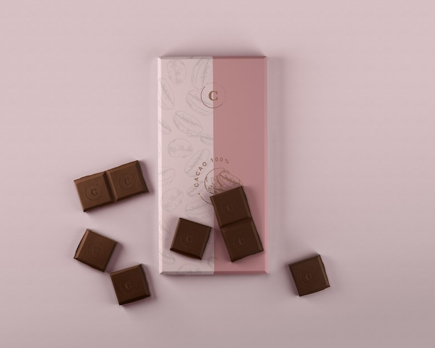 Papel chocolate embrulho mock-up Psd Premium