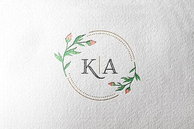 Papel de maquete de logotipo em aquarela Psd Premium