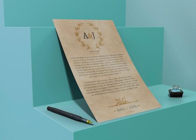 Papel de mock-up de contrato para eventos especiais Psd grátis