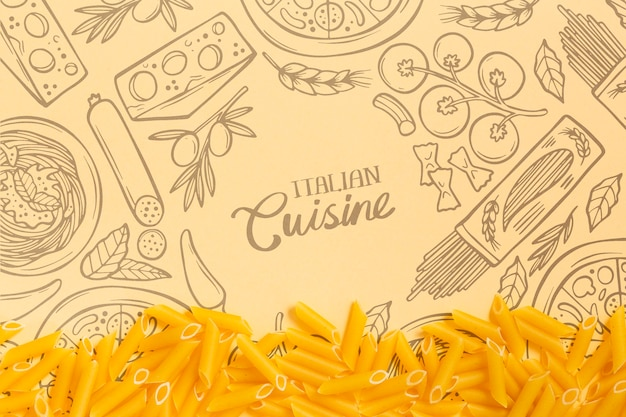 Papel de parede de cozinha italiana com saborosas massas Psd grátis