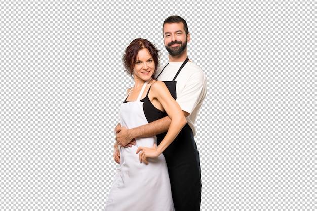Par, cozinheiros, abraçando Psd Premium