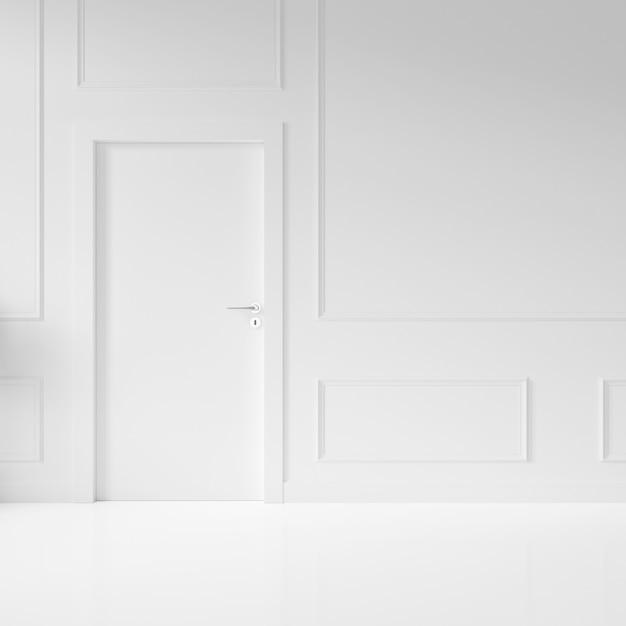 Parede com porta em branco Psd grátis
