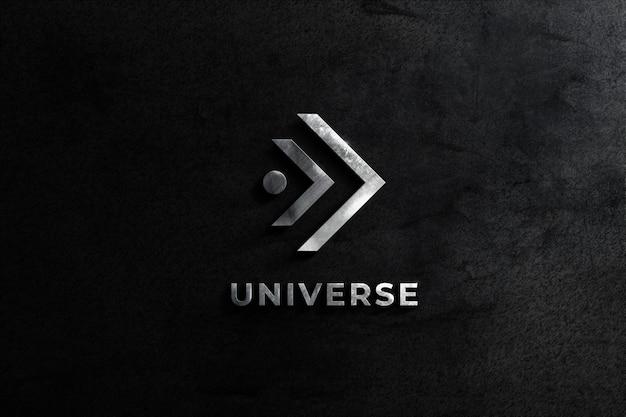 Parede de maquete de aço realista logotipo com fundo de textura balck Psd Premium