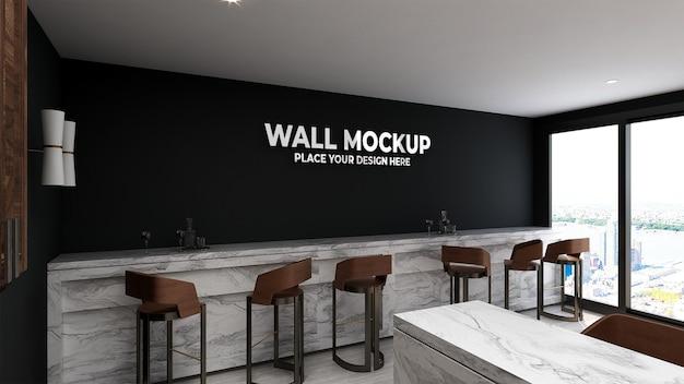 Parede de maquete em interior moderno e luxuoso de café Psd Premium