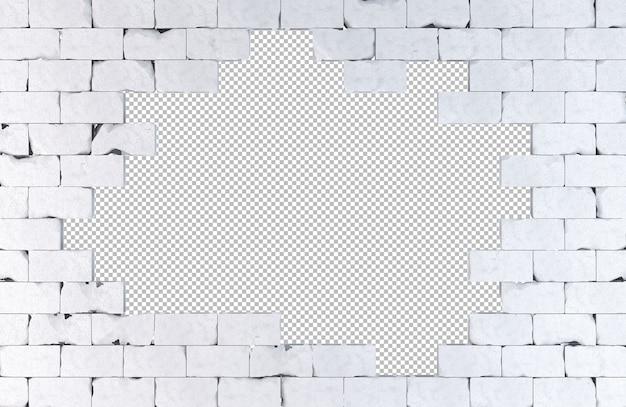 Parede de tijolos com um grande buraco isolado na ilustração 3d branca Psd Premium