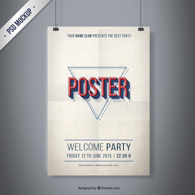 Partido vintage poster mockup Psd grátis