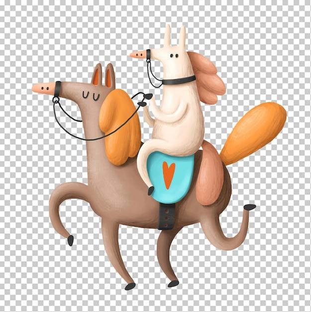Passeios a cavalo mão ilustrações desenhadas Psd Premium