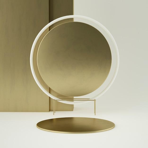 Pedestal de produto de ouro branco limpo, moldura de ouro, placa memorial, conceito mínimo abstrato, espaço em branco, design limpo, luxo. renderização em 3d Psd Premium