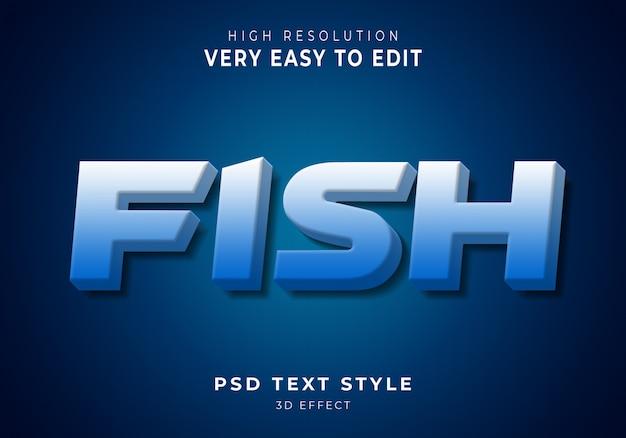 Peixe moderno efeito de texto Psd Premium