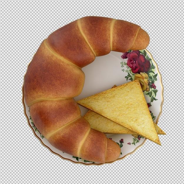 Pequeno-almoço isométrico 3d isolado Psd Premium