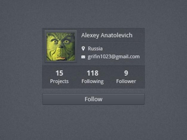 Perfil de usuário para seguir Psd grátis