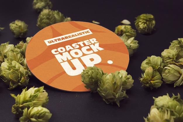 Perspectiva rodada coaster hop Psd Premium