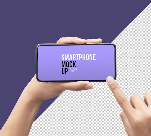 Pessoa, segurando e tocando smartphone com maquete da tela Psd Premium