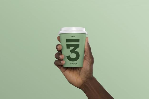 Pessoa, segurando, xícara café, maquete Psd Premium