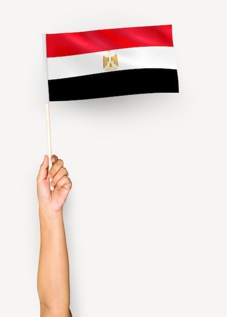 Pessoa, waving, bandeira, árabe, república, egito Psd Premium
