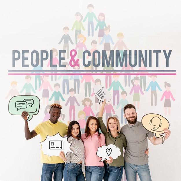 Pessoas e comunidade com bolhas de bate-papo Psd grátis