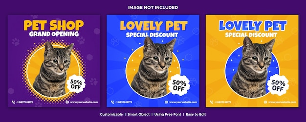 Pet shop design de modelo de mídia social banner post instagram Psd Premium