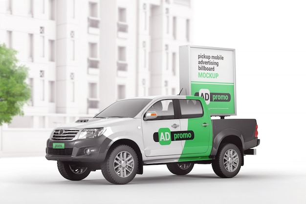 Picape de marca com maquete de outdoor de publicidade móvel Psd Premium